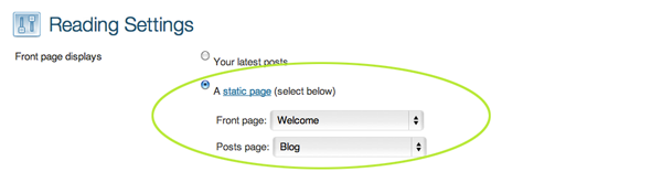 Screen capture of reading settings to set home page blog page
